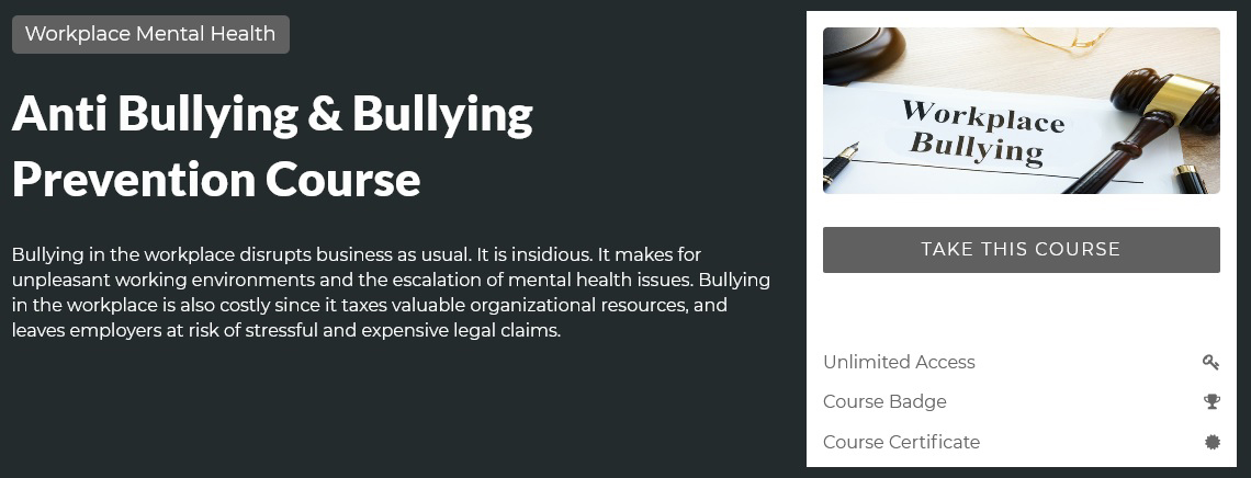 Anti Bullying and Bullying Prevention Course